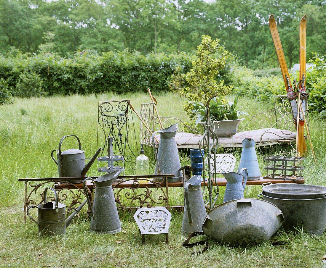 Zinc garden utensils and antiques
