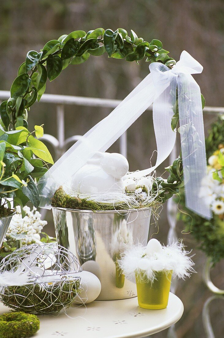 Green and white Easter decorations on balcony or terrace
