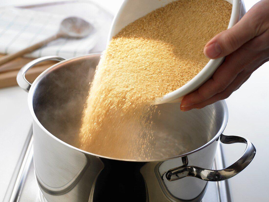Dissolving brown sugar in hot water