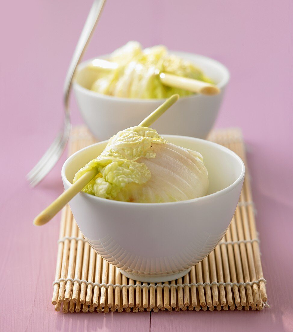 Fish fillet in Chinese cabbage leaf