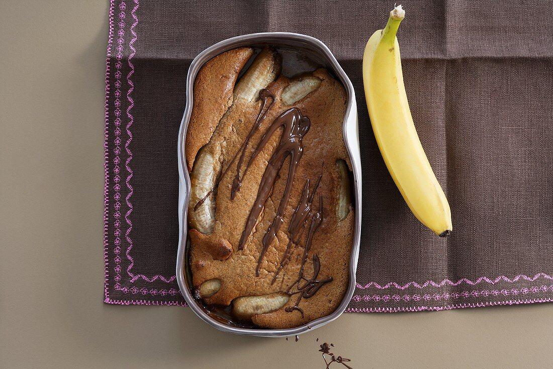 Chocolate pudding with honey bananas