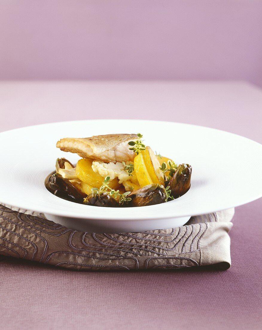 Huchen (Danube salmon) on vegetable hash