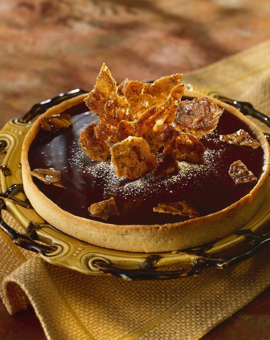 Chocolate tart with almond caramel