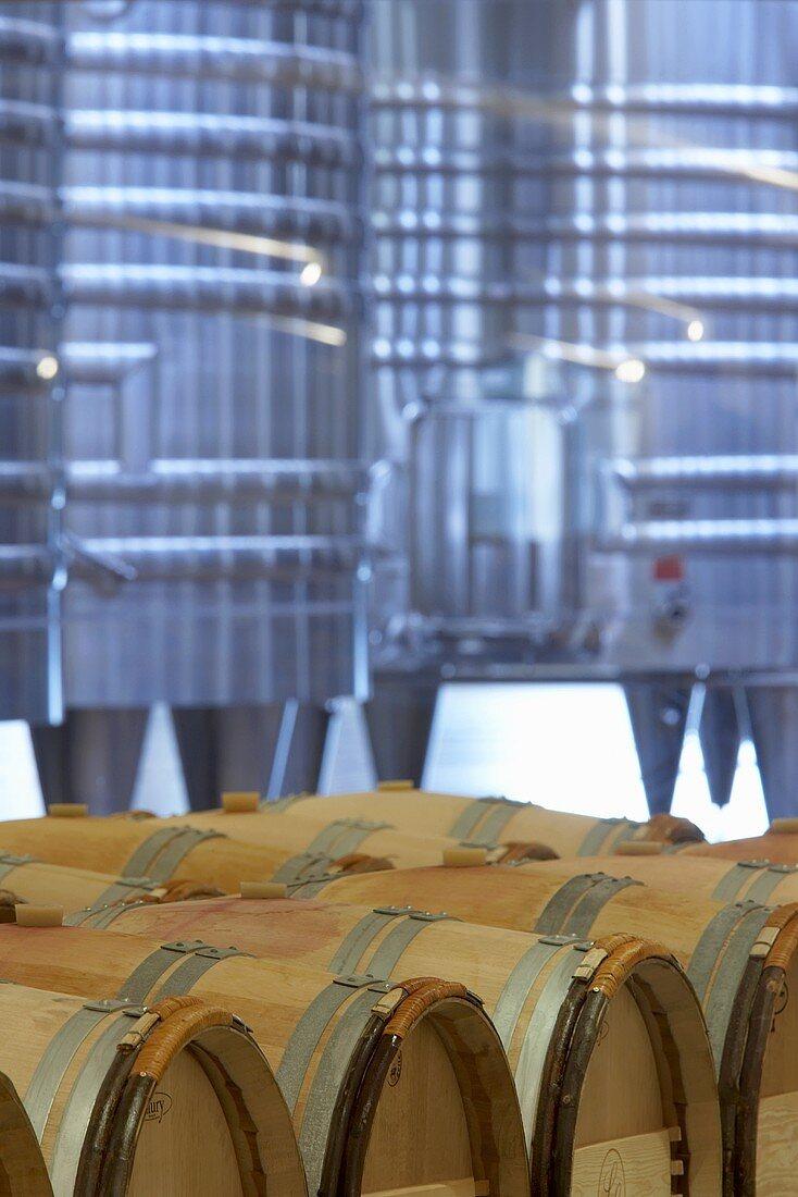 Stainless steel tanks & wine barrels, Château La Lagune, Bordeaux
