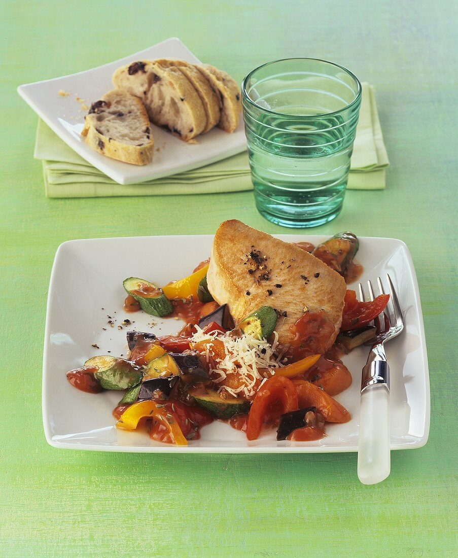 Turkey steak with ratatouille
