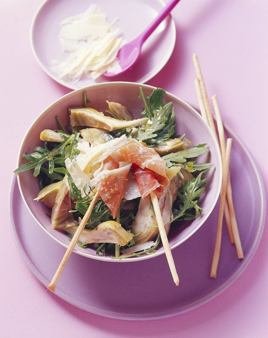 Rocket and artichoke salad with Parma ham and Parmesan