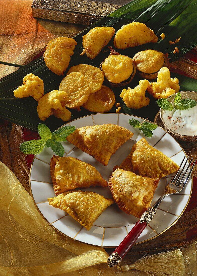 Pakoras and samosas (India)