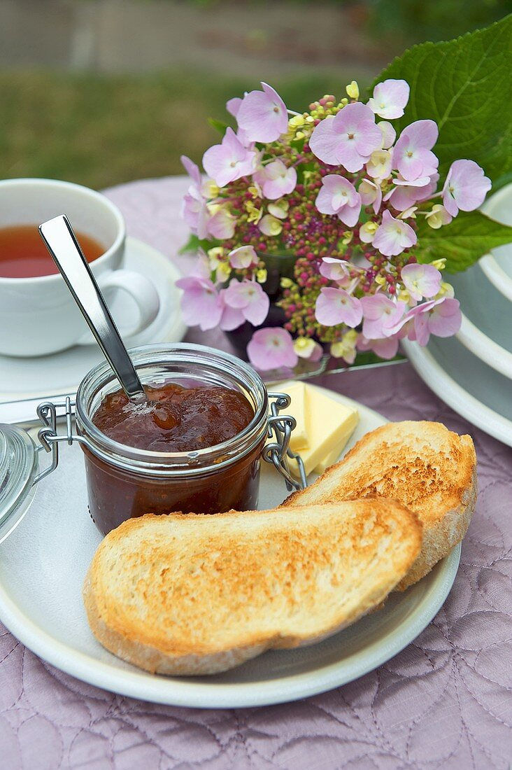 Ginger jam, toast and butter