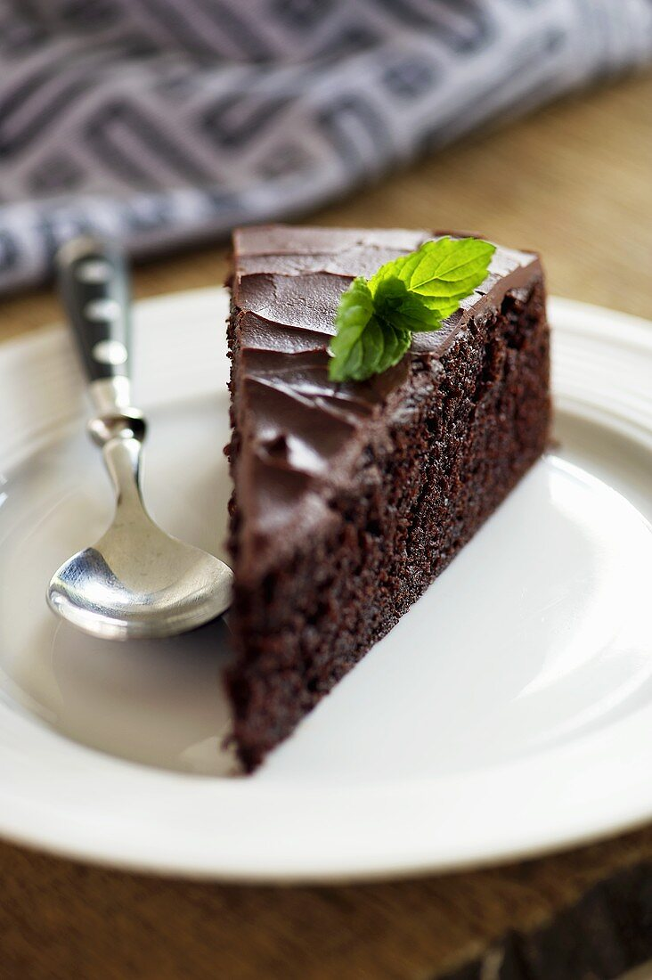A slice of stout cake (chocolate-beer cake, England)