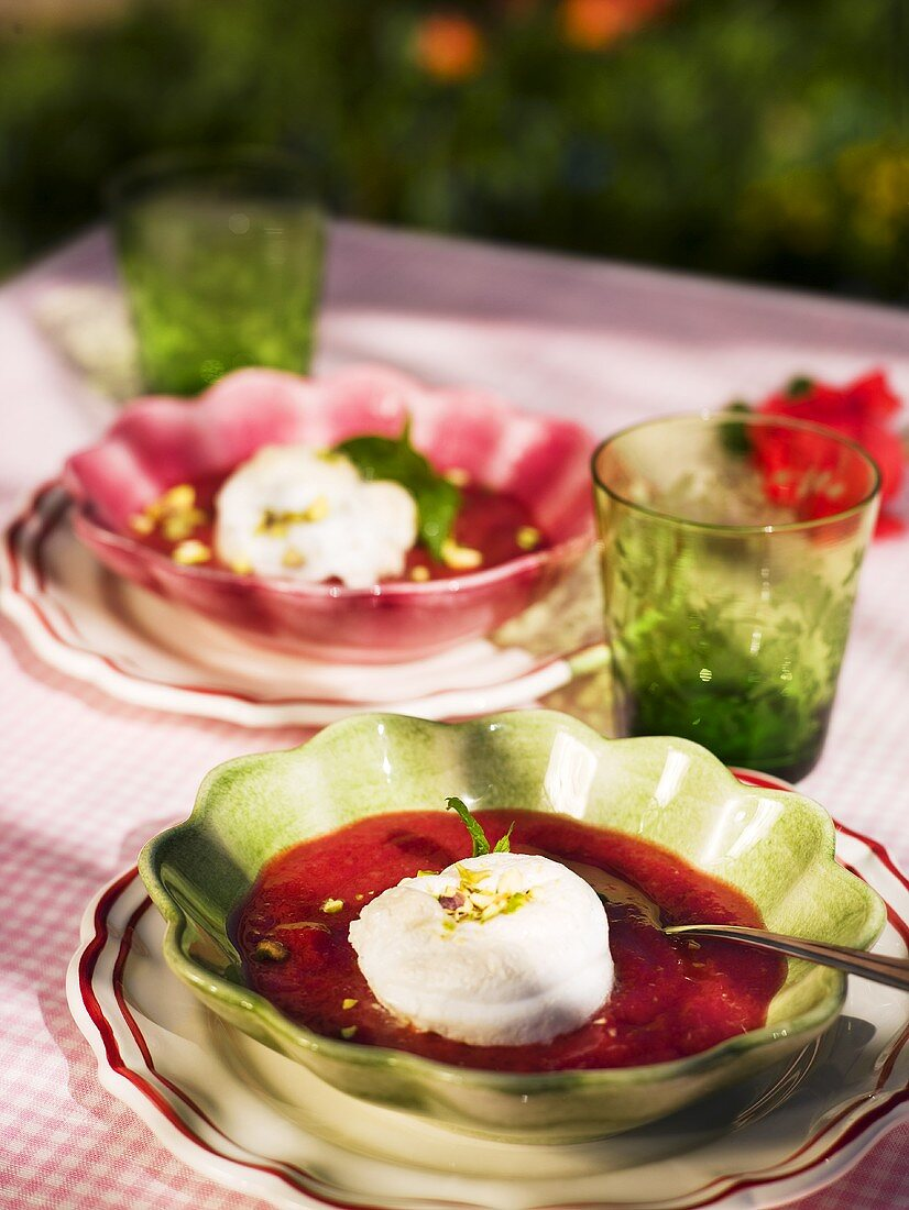 Strawberry and rhubarb soup with vanilla dumplings