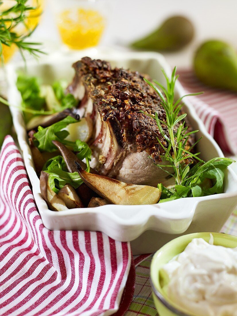 Roasted chops with an almond crust and pears