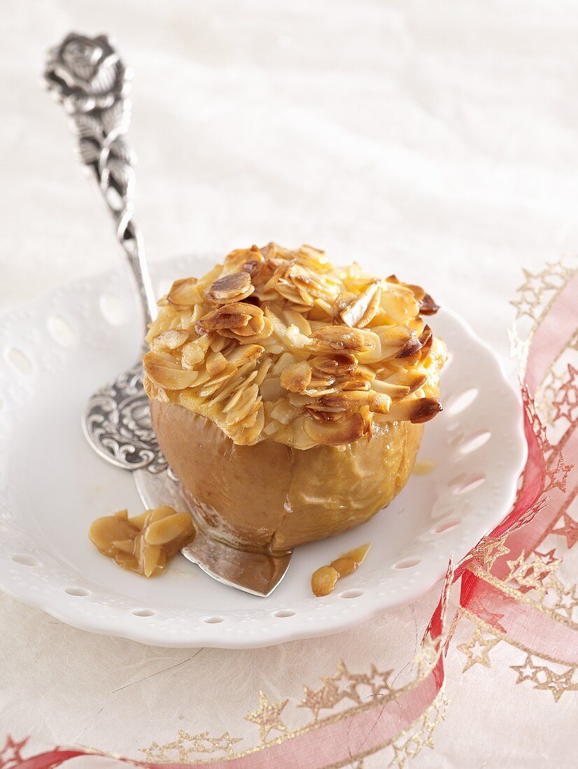 A baked apple with a honey-almond filling