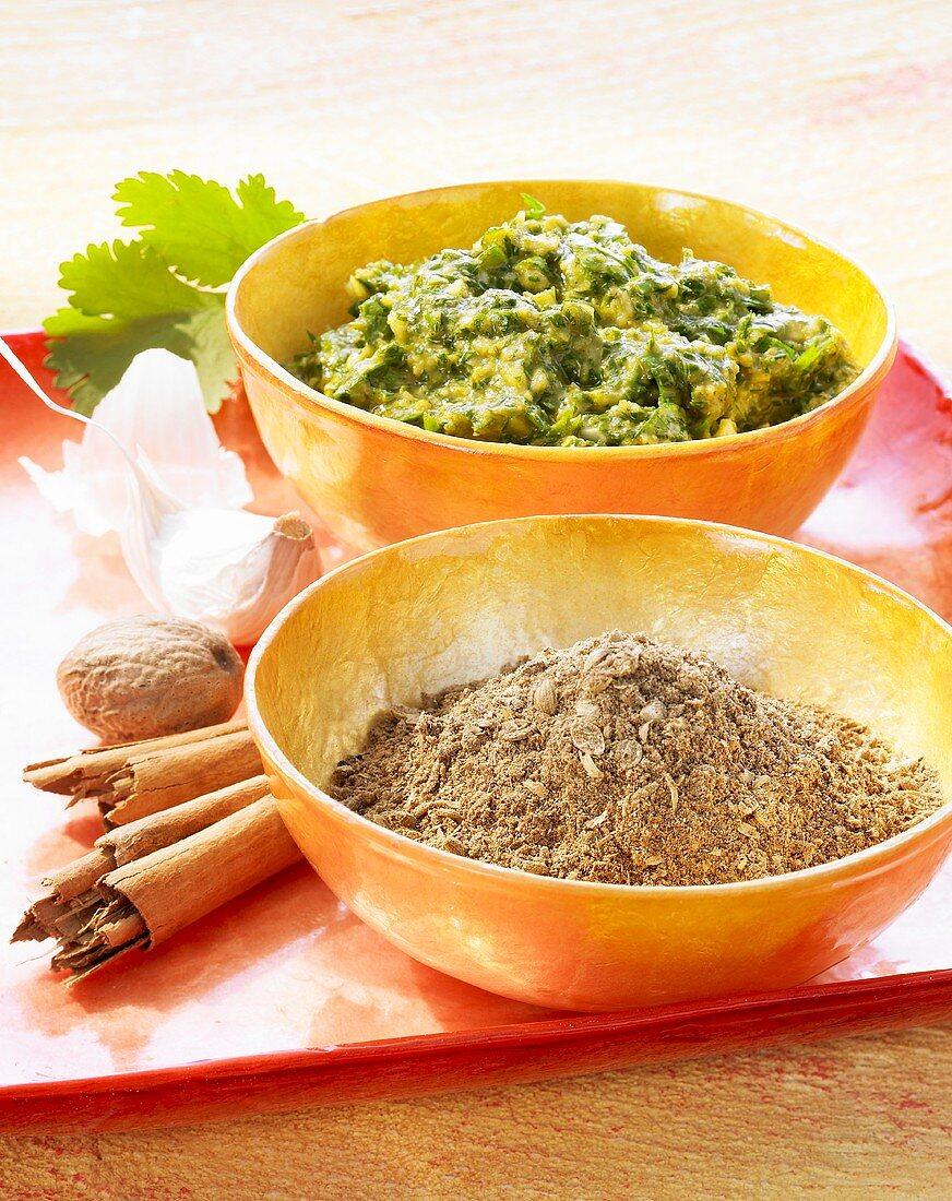 Garam masala (spice mixture) and chermoula (spice paste)