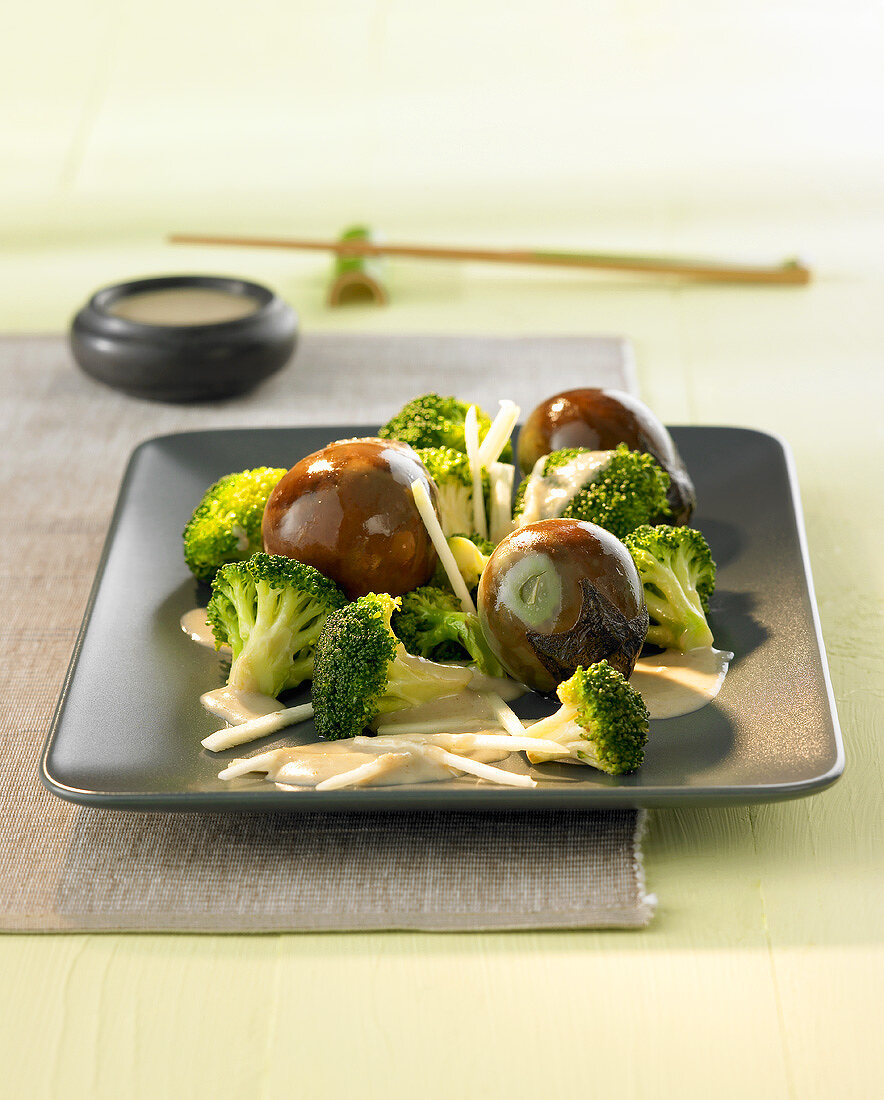 Baby aubergines with broccoli