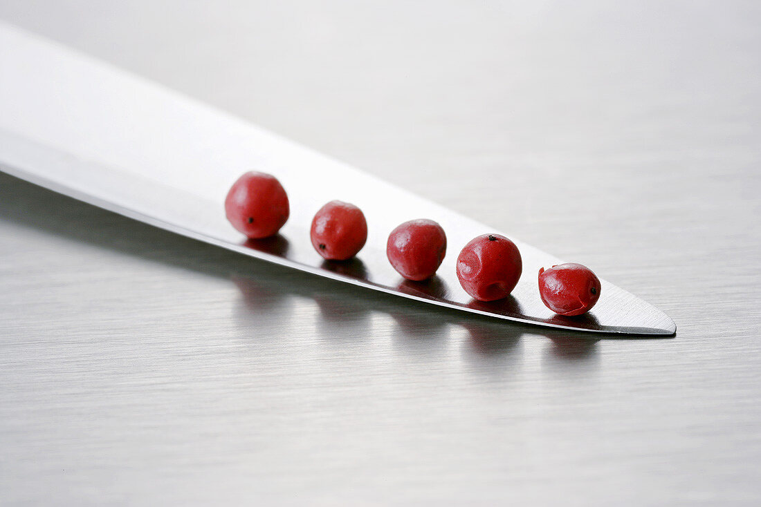 Five red peppercorns on a knife blade
