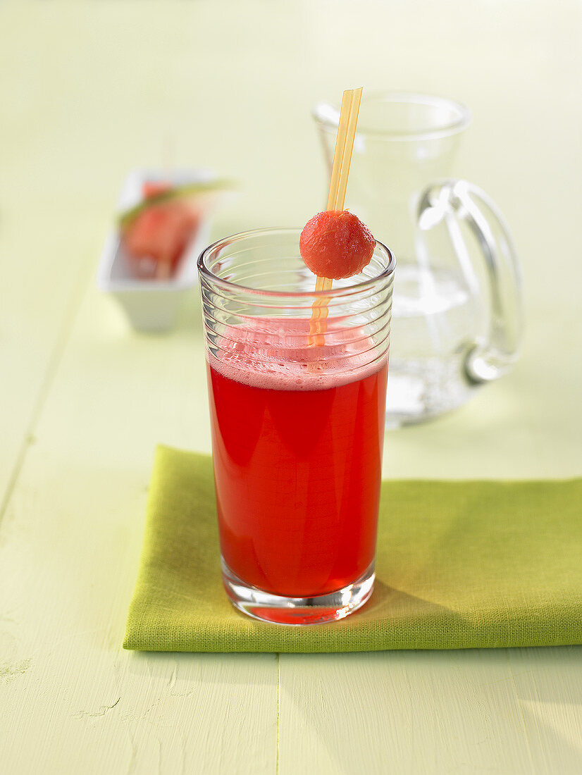 Pomegranate and watermelon drink with froth