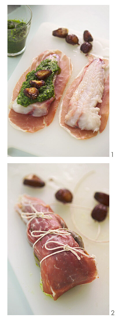 Preparing monkfish with pesto wrapped in ham