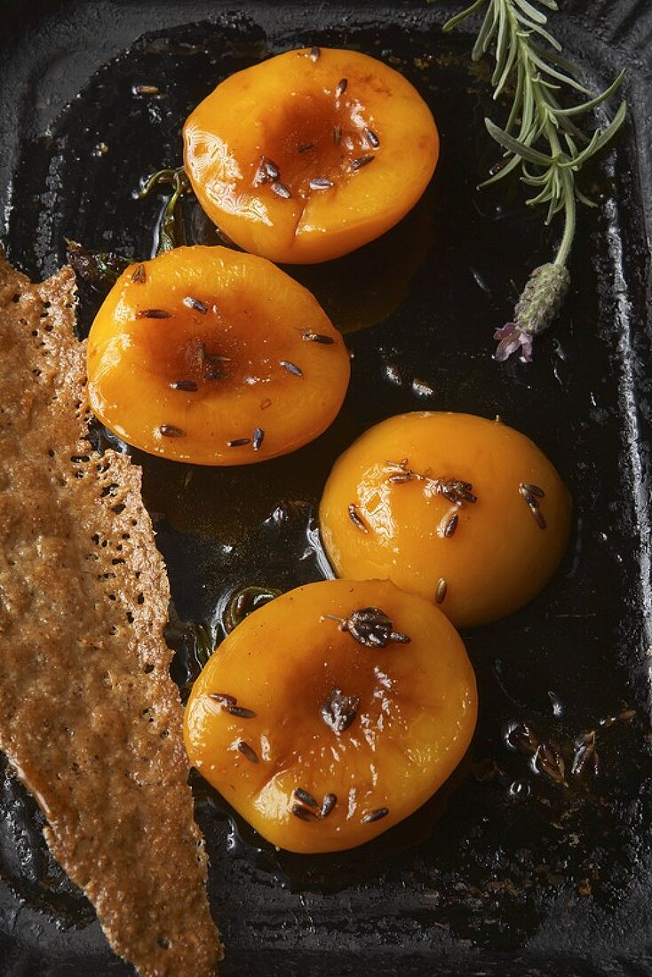 Peaches braised in acacia honey with lavender, nut wafer