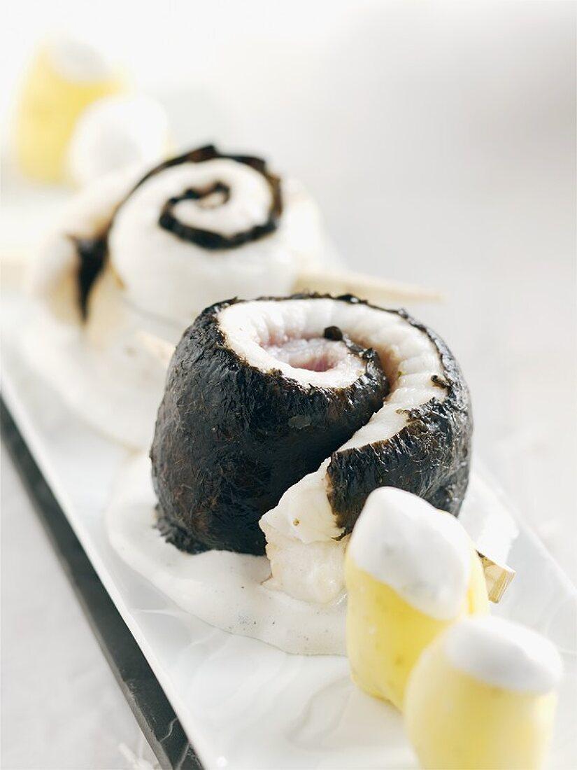 Nori-wrapped sole rolls