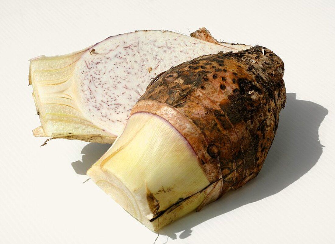A halved taro root