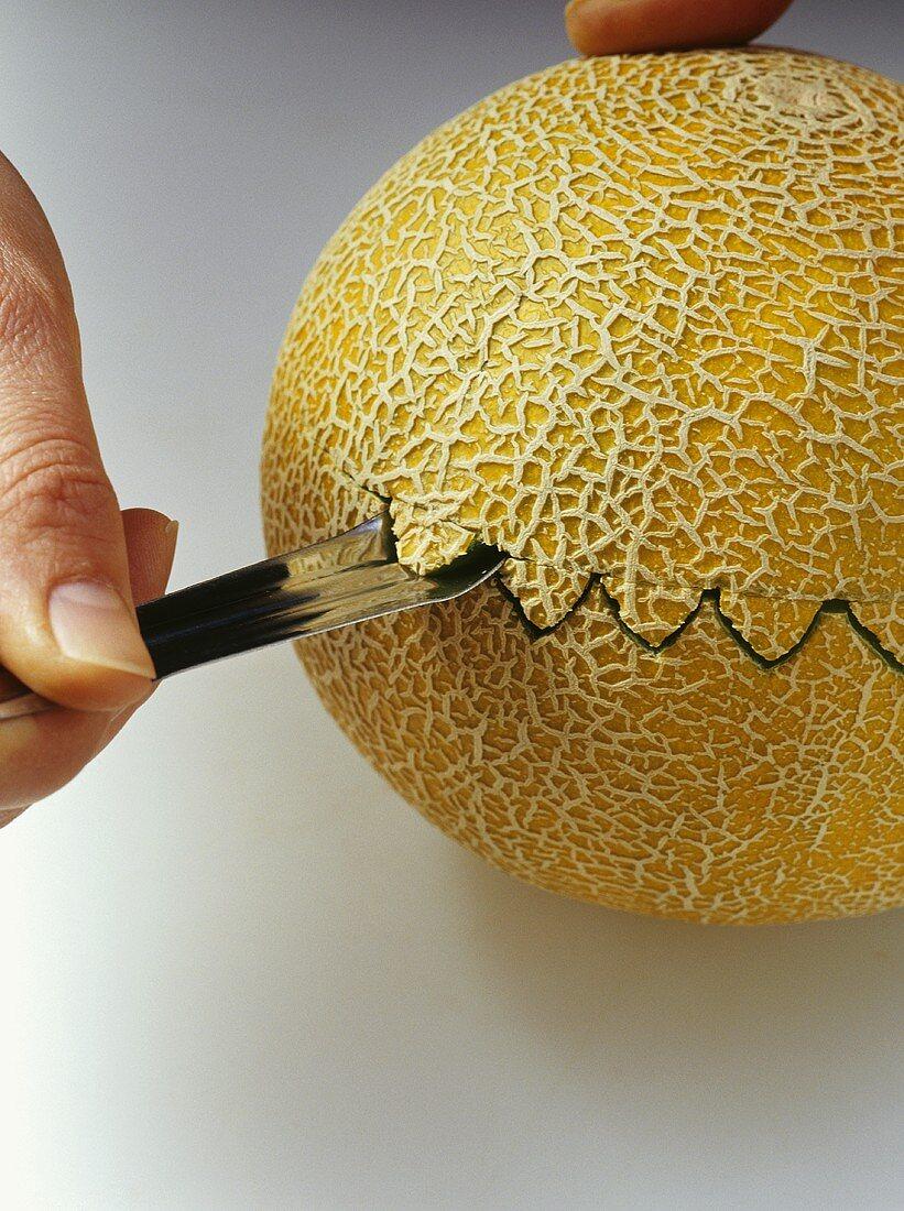 Carving a melon