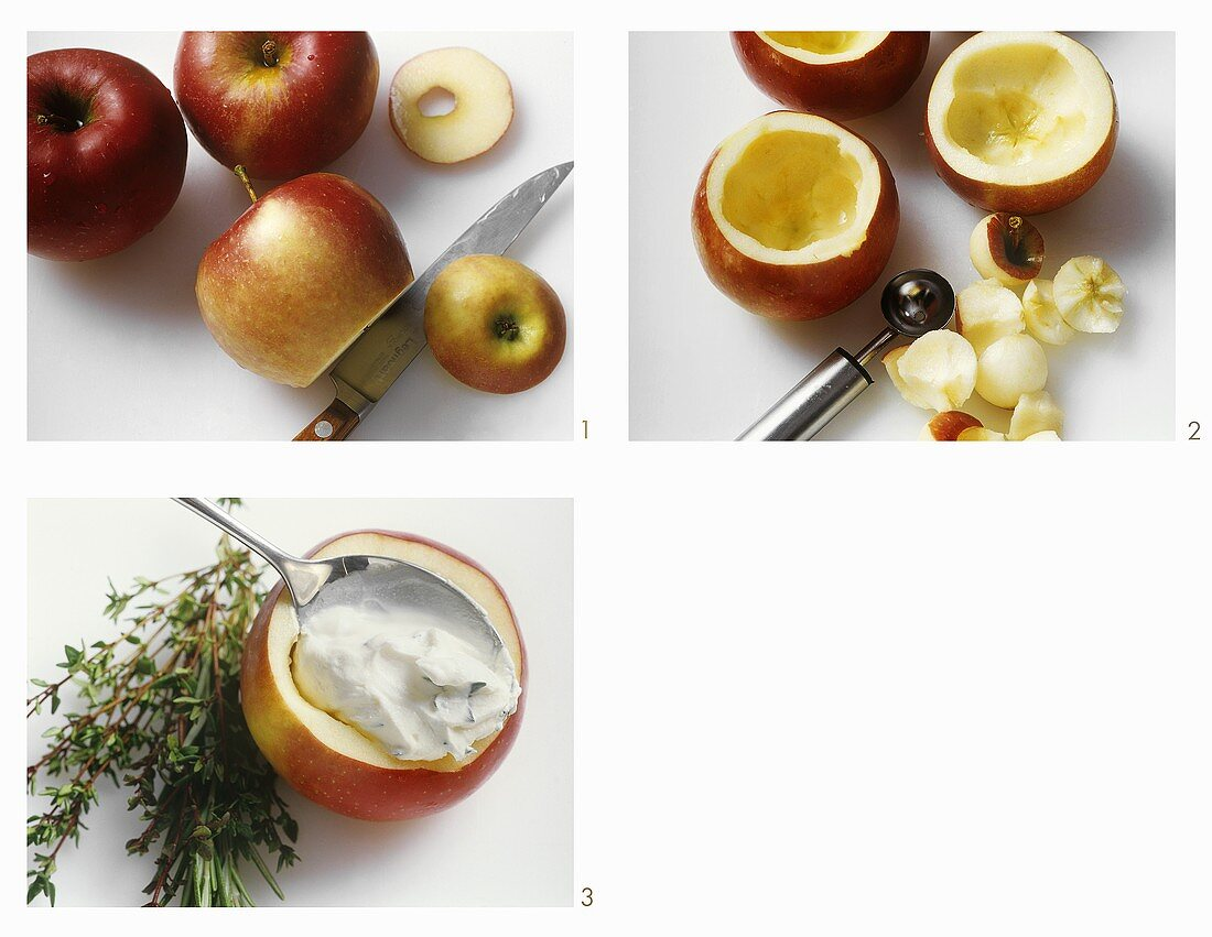Hollowing out apples & stuffing with soft cheese: appetiser or garnish