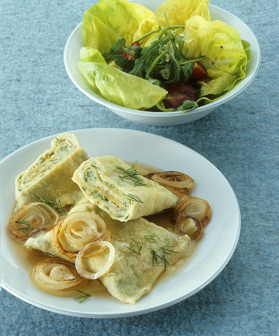 Maultaschen (filled pasta) with fish filling & onion butter