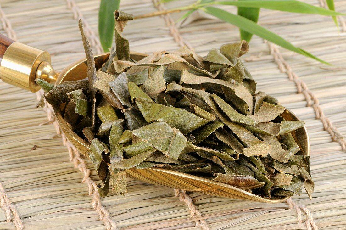 Dried loquat leaves in a scoop