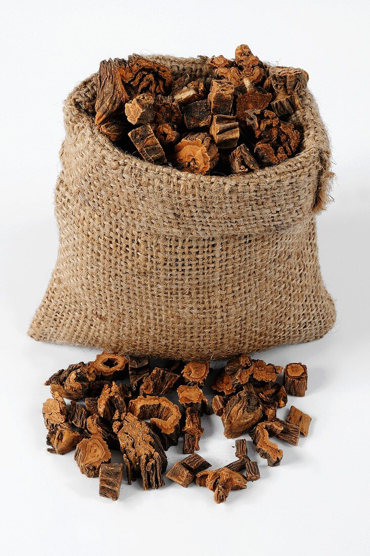 Pieces of dried gentian root in and beside a jute sack