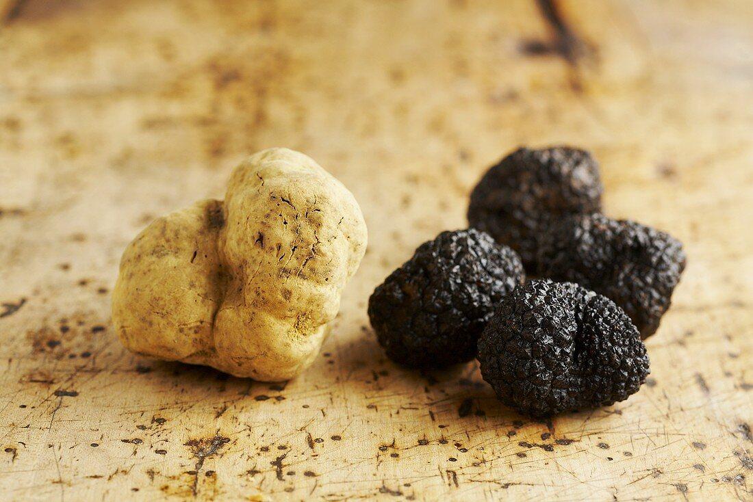 One Alba truffle and four Périgord truffles