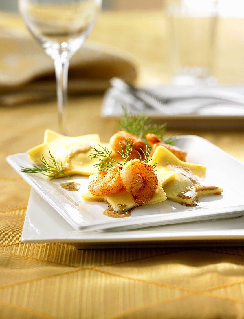 Fried prawns on shrimp-filled pasta stars
