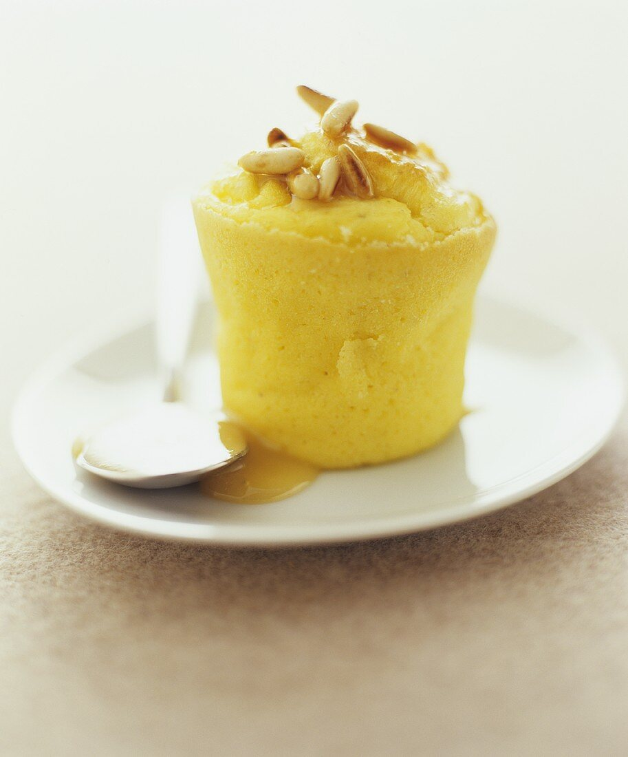 Honey soufflé with pine nuts