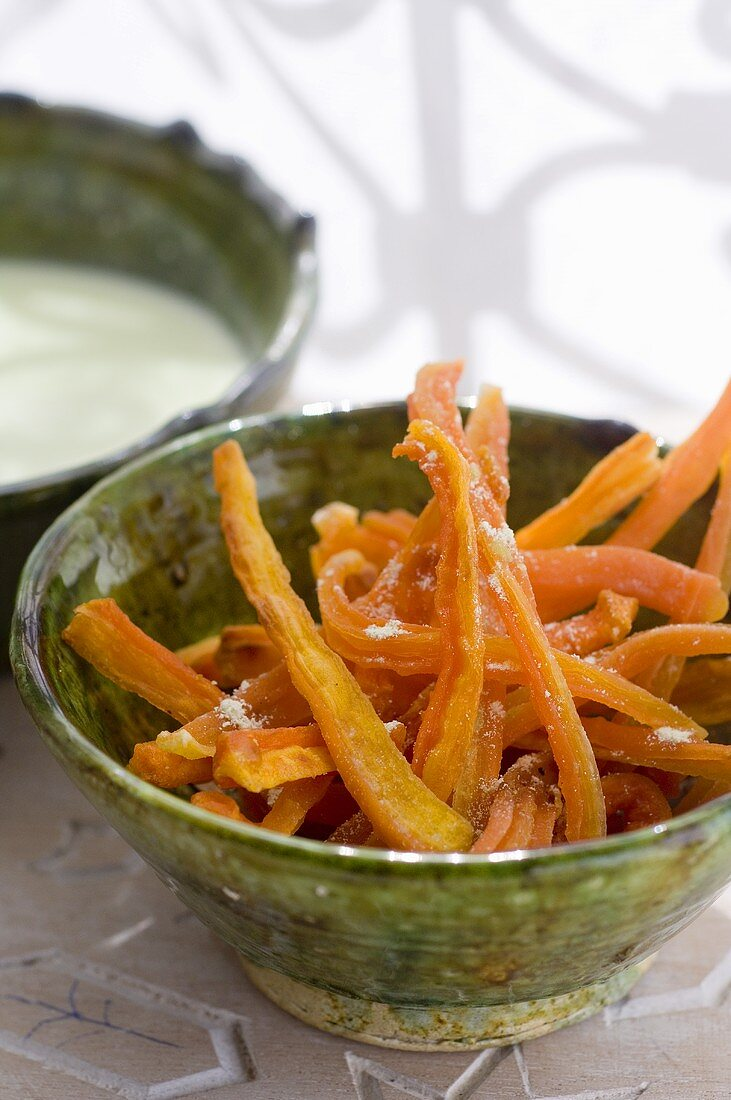 Dried wasabi carrots with wasabi coconut sauce (Morocco)