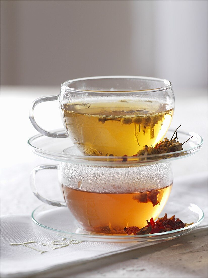 Two glass cups of blossom tea