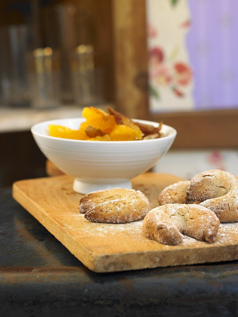 Orange and date salad with nut biscuits