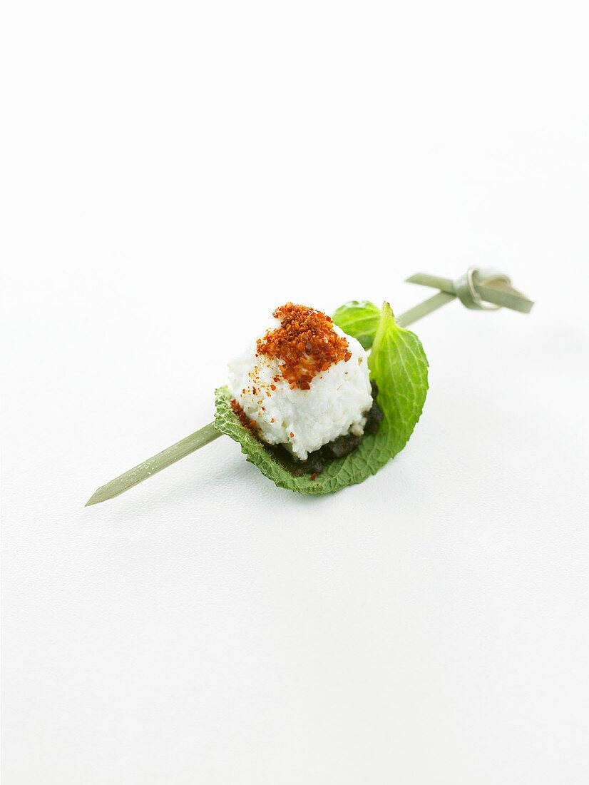 Brocciu & mint on cocktail stick (goat or sheep's cheese, Corsica)