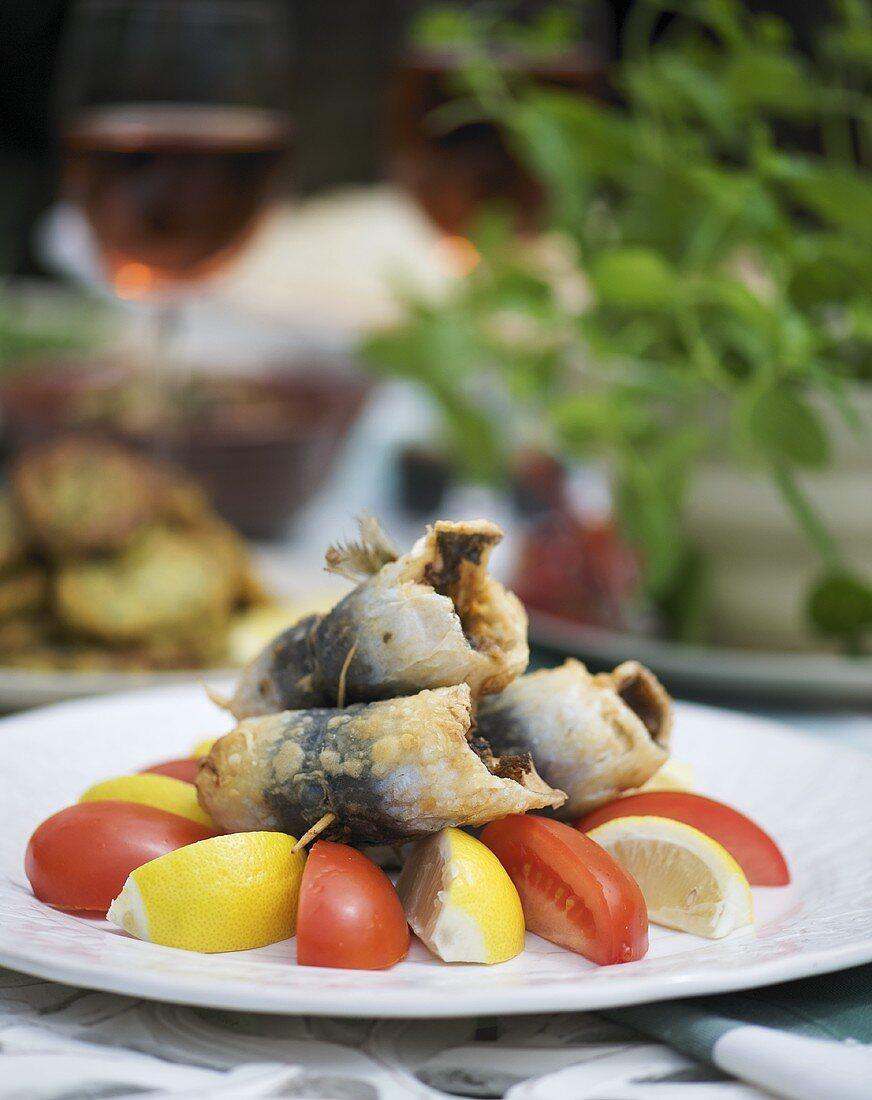 Deep-fried sardine rolls stuffed with chermoula