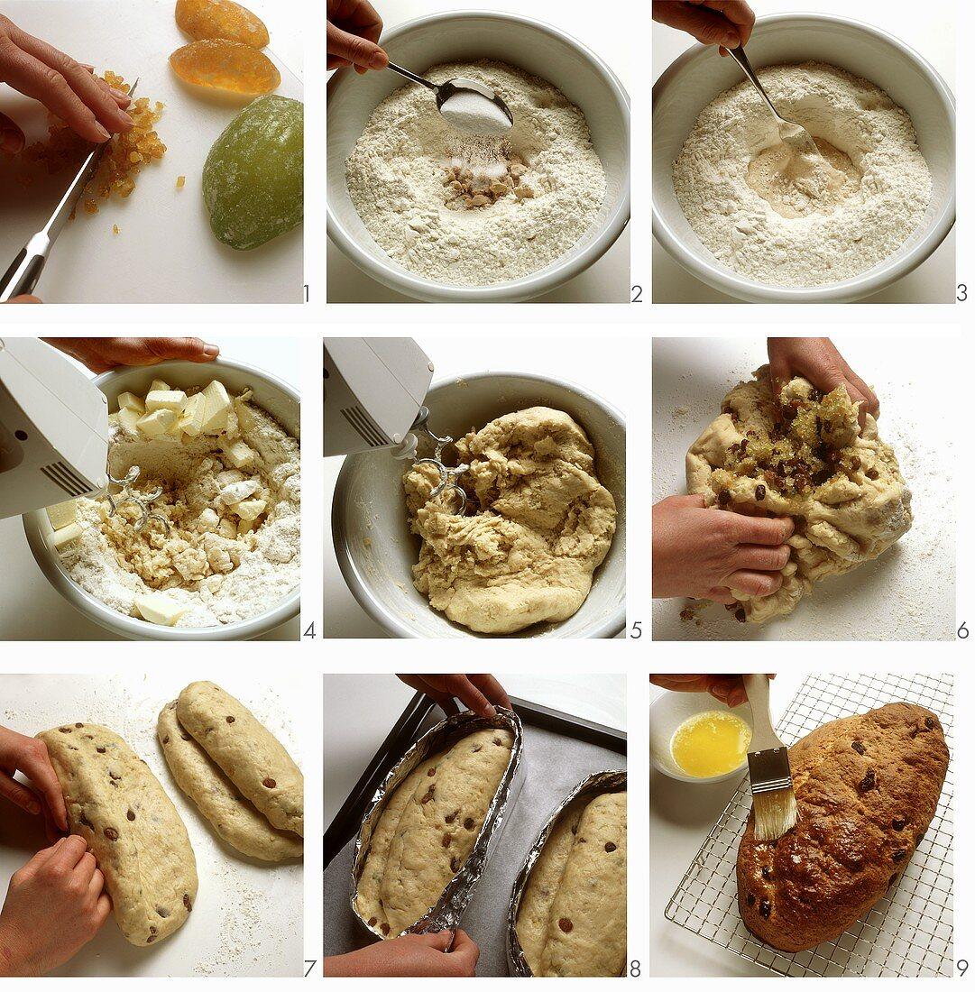 Baking butter stollen (German Christmas loaf)