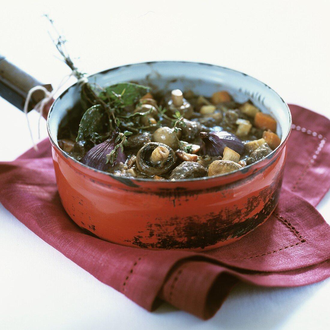 Beef and mushroom goulash in a pan