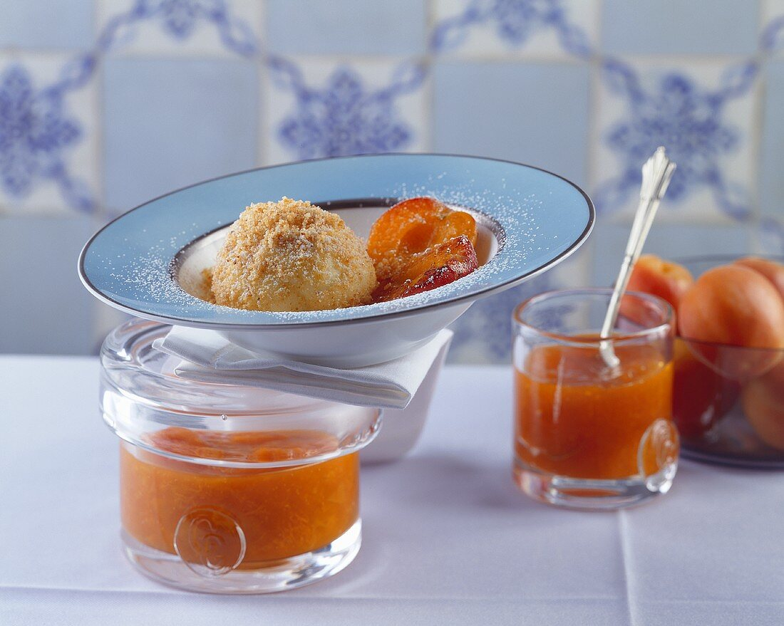 Apricot dumplings and apricot jam