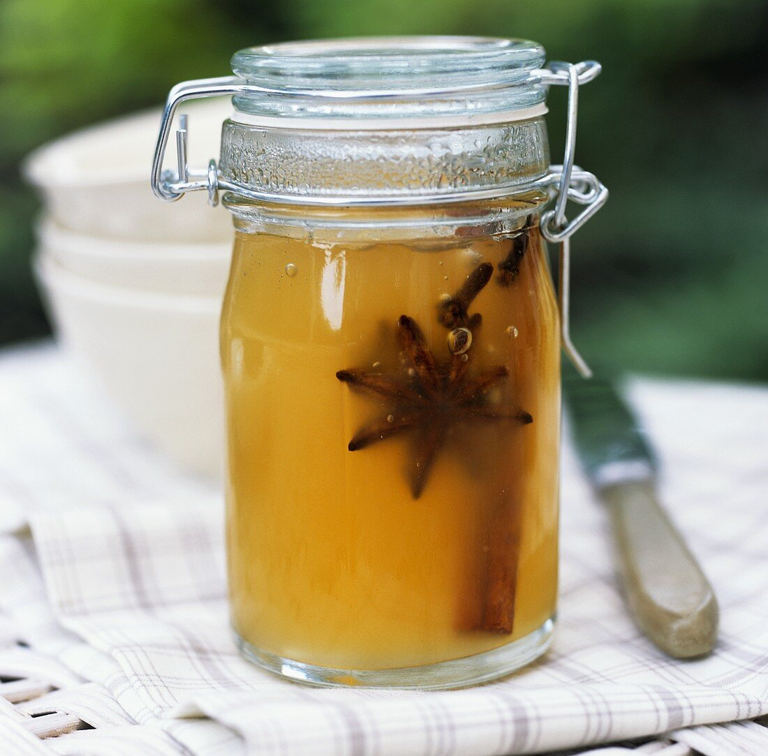 Spiced apple jelly in a preserving jar