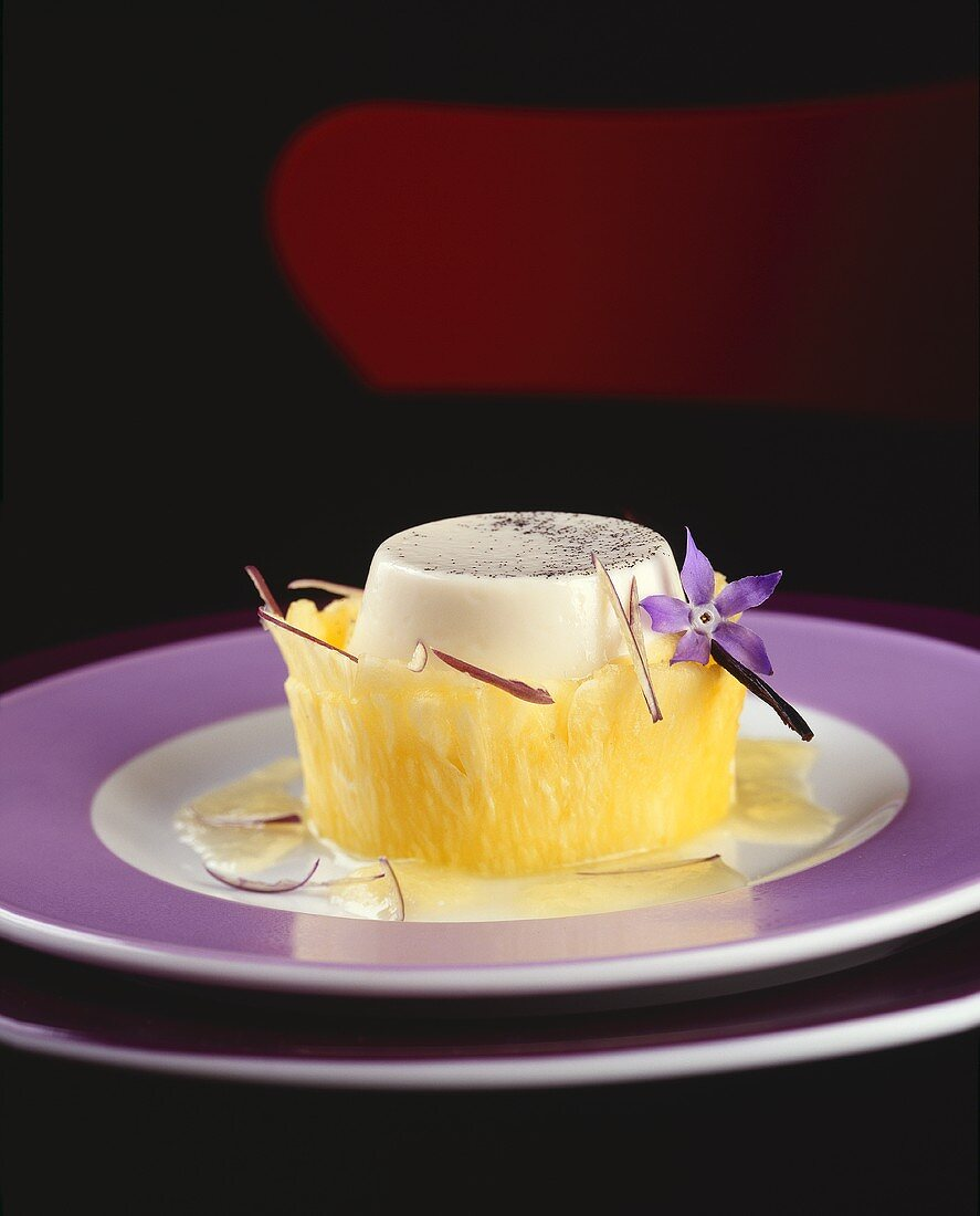 White chocolate mousse with pineapple