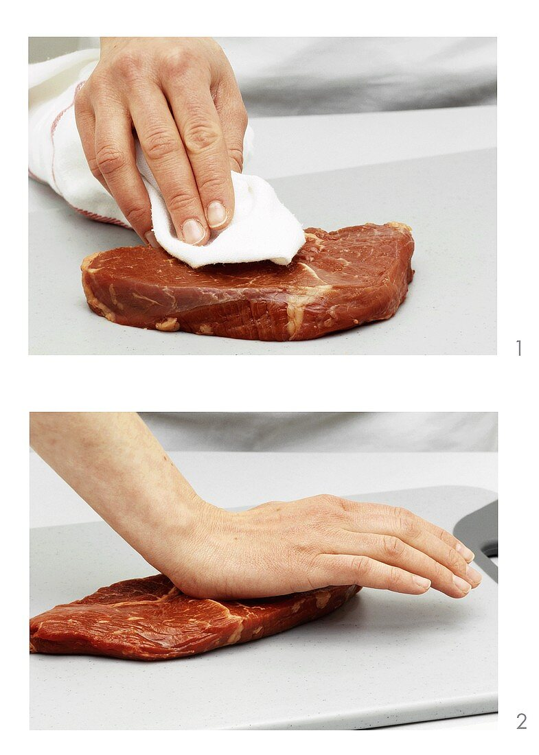 Drying and flattening beefsteak