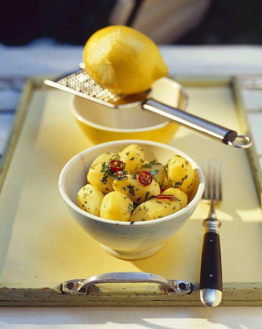 Chilli parsley potatoes and lemon
