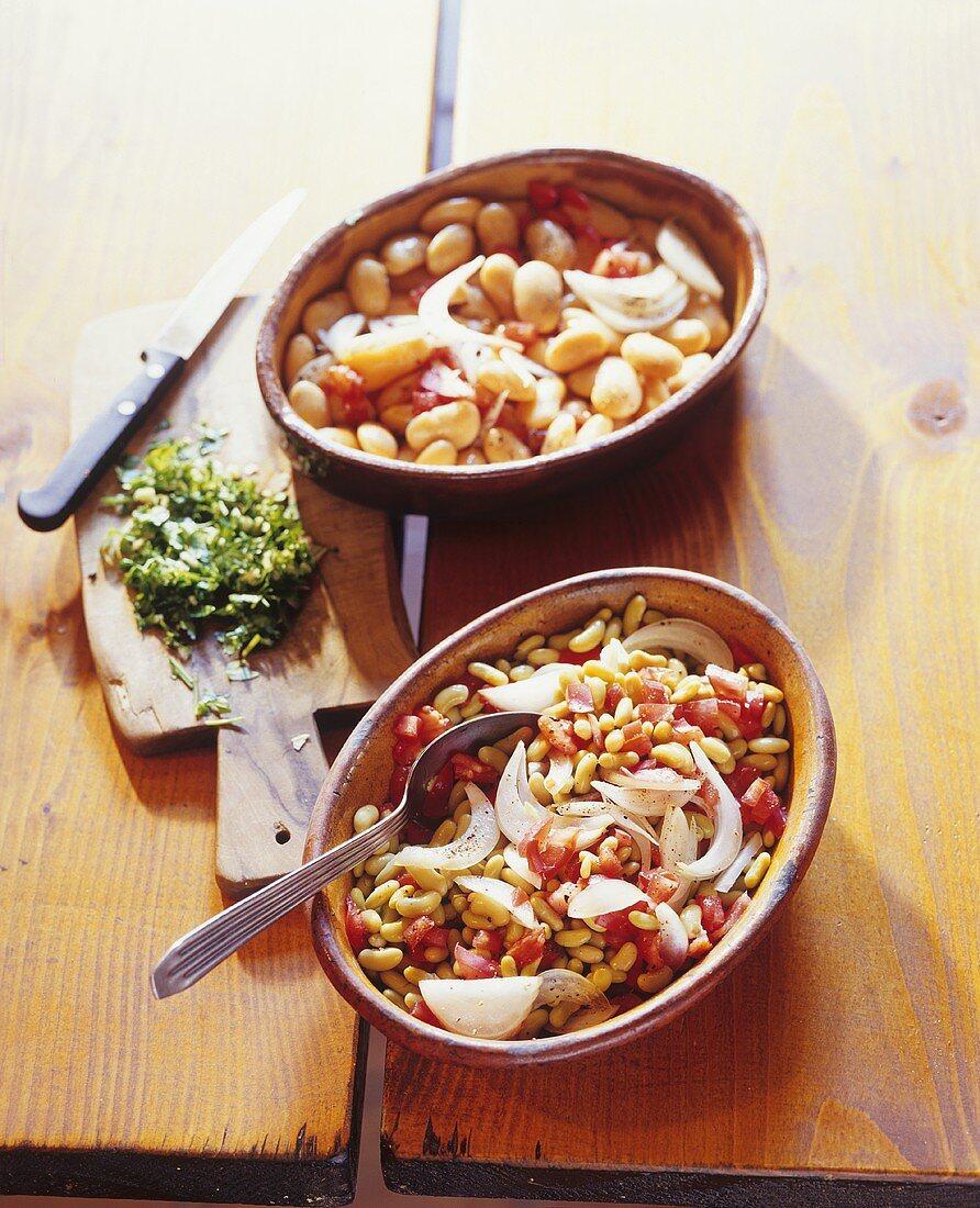White bean, tomato and onion salad