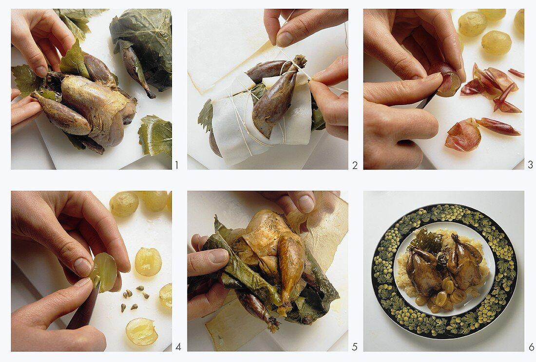 Preparing partridges in vine leaves