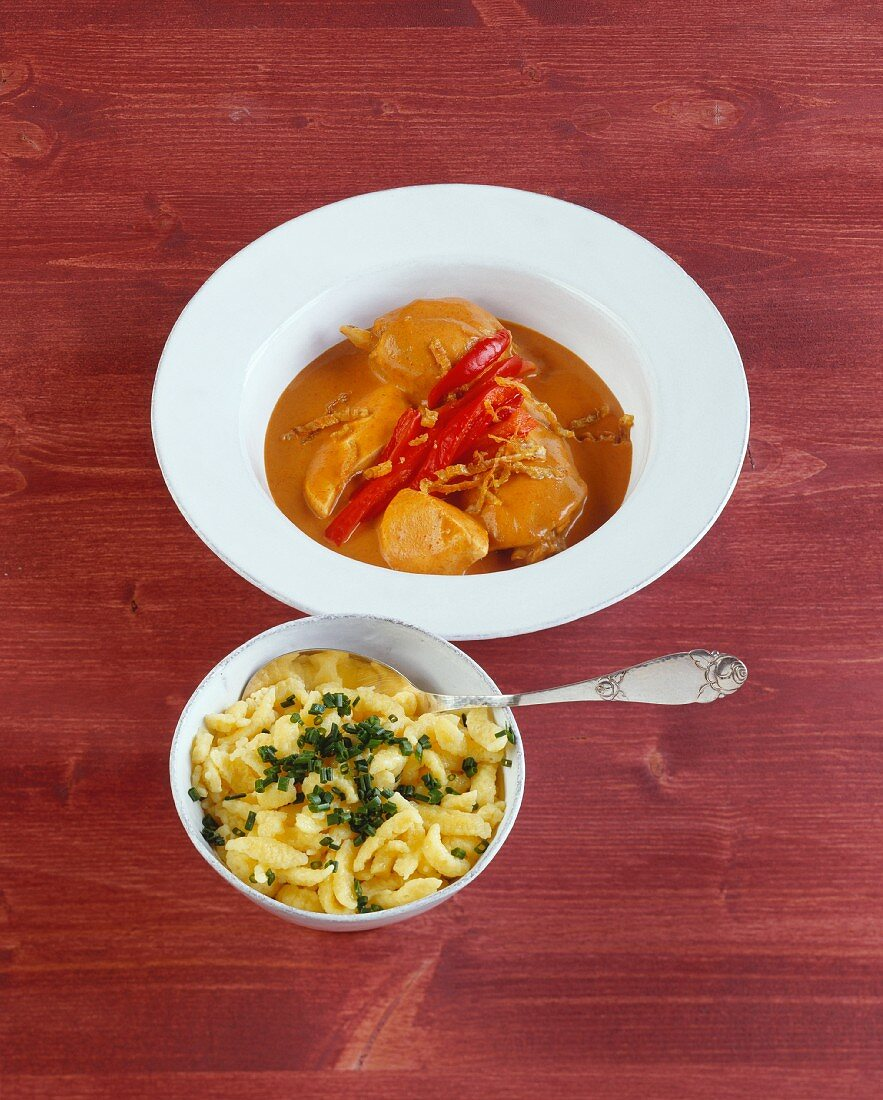 Paprika chicken with spaetzle noodles