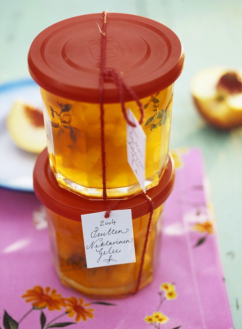 Two jars of quince and nectarine jelly