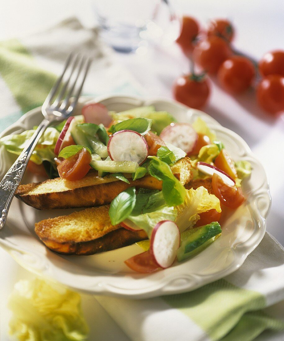 Salad leaves with cucumber, radishes, tomato, grilled baguette
