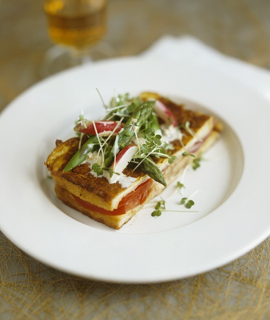 Fried tomato sandwich with asparagus and radish salad